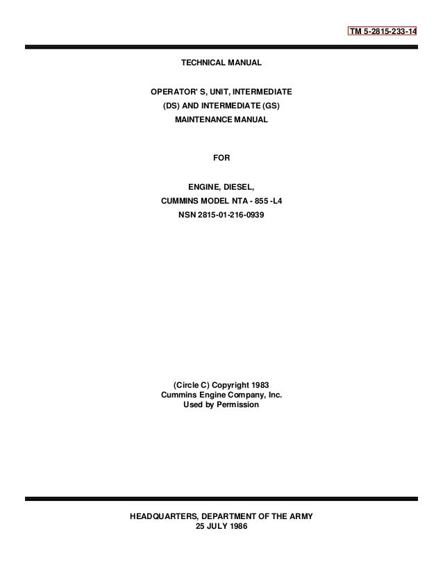TM 5-2815-233-14  TECHNICAL MANUAL  OPERATOR' S, UNIT, INTERMEDIATE  (DS) AND INTERMEDIATE (GS)  MAINTENANCE MANUAL  FOR  ...