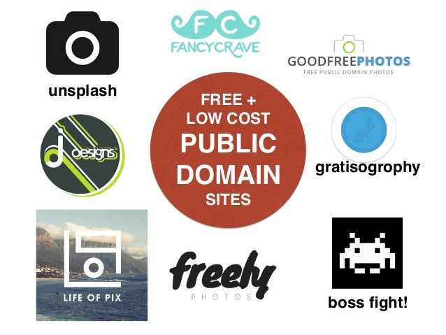 FREE +  LOW COST PUBLIC DOMAIN SITES unsplash boss fight! gratisogrophy