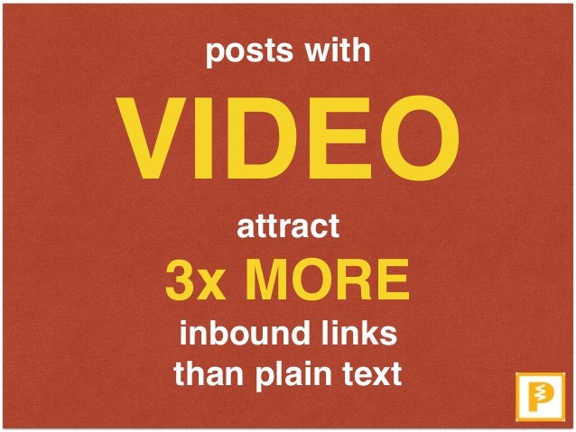 posts with  VIDEO  attract  3x MORE  inbound links  than plain text
