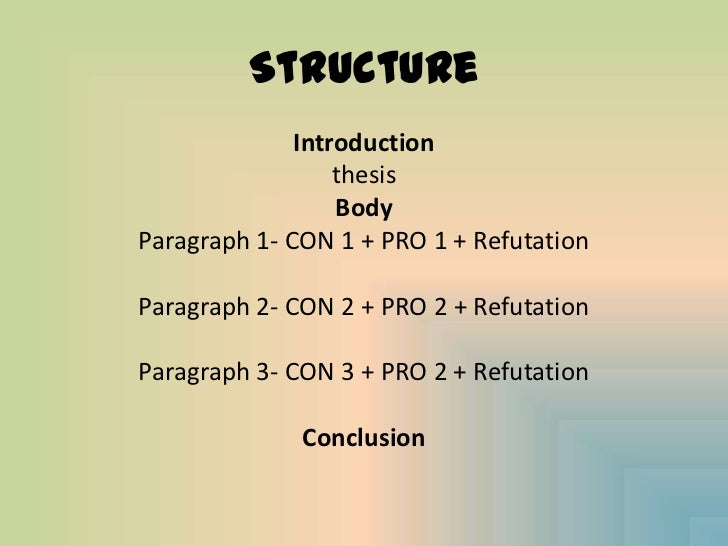 pro and con essay structure Rhetoric and composition/argument an issue or pointing out the pros and cons, you're not with this basic structure of the argumentative essay.
