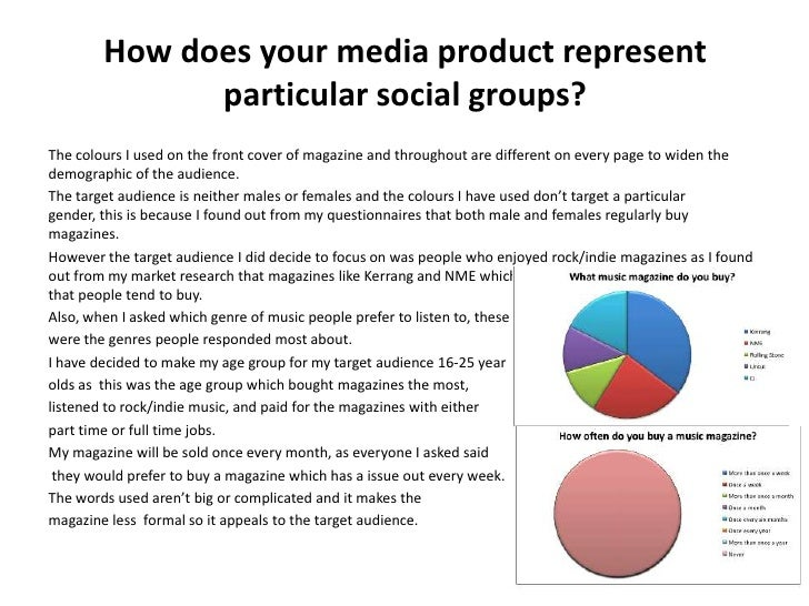 How does your media product represent              particular social groups?The colours I used on the front cover of magaz...