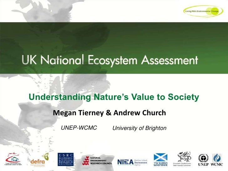 Understanding Nature's Value to Society<br />Megan Tierney & Andrew Church<br />UNEP-WCMC<br />University of Brighton <br />