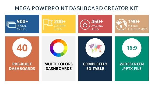 MEGA POWERPOINT DASHBOARD CREATOR KIT 500+ DESIGN ASSETS 200+ COUNTRY FLAGS 450+ AMAZING ICONS 190+ VECTOR COUNTRY MAPS 40...