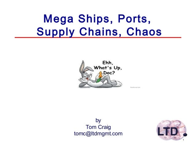 1 Mega Ships, Ports, Supply Chains, Chaos by Tom Craig tomc@ltdmgmt.com