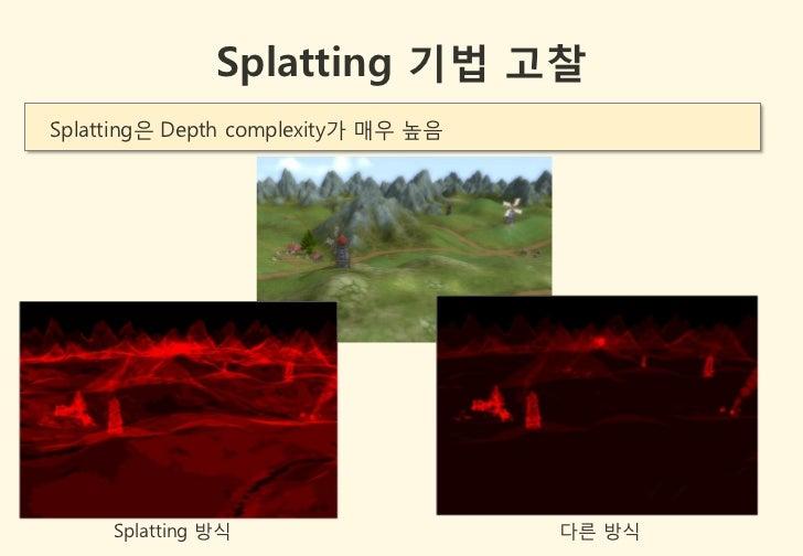 Splatting 기법 고찰Splatting은 Depth complexity가 매우 높음     Splatting 방식                    다른 방식