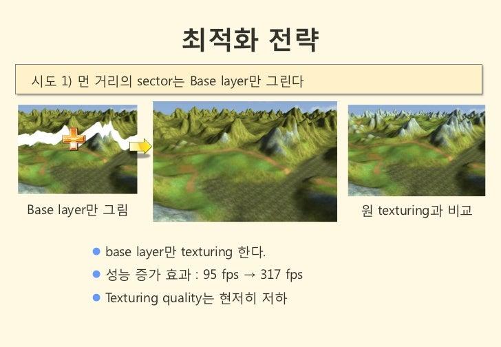 최적화 전략시도 1) 먼 거리의 sector는 Base layer만 그린다Base layer만 그림                          원 texturing과 비교         base layer만 text...
