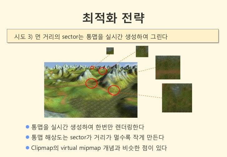 최적화 전략시도 3) 먼 거리의 sector는 통맵을 실시갂 생성하여 그린다   통맵을 실시갂 생성하여 한번만 렌더링한다   통맵 해상도는 sector가 거리가 멀수록 작게 만든다   Clipmap의 virtual...