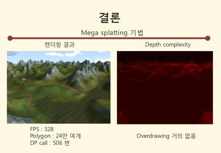 결론                   Mega splatting 기법    렌더링 결과                             Depth complexityFPS : 328Polygon : 24만 여개    ...