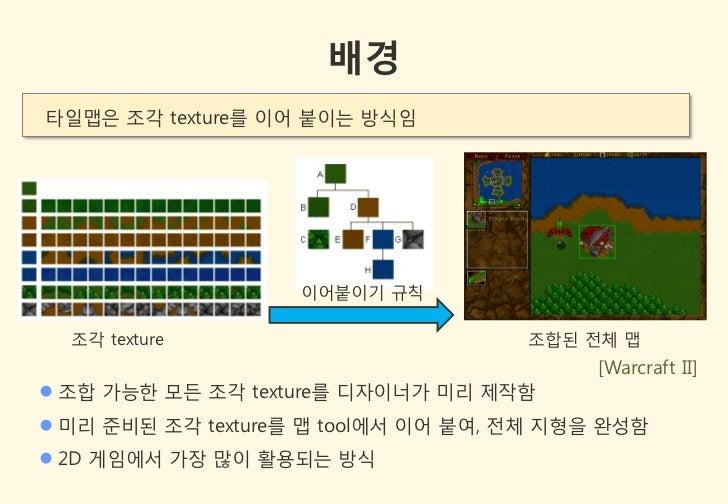 배경타일맵은 조각 texture를 이어 붙이는 방식임                    이어붙이기 규칙  조각 texture                         조합된 젂체 맵                    ...