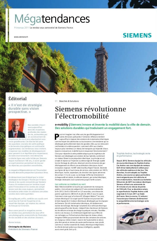 Mégatendances       Printemps 2011 Le rendez-vous semestriel de Siemens France      www.siemens.frÉditorial               ...