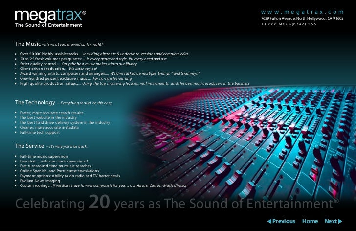 Megatrax Production Music Brochure And Sizzle Reel