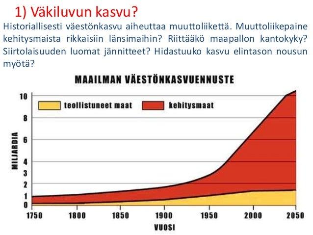 1) Väkiluvun kasvu? Historiallisesti väestönkasvu aiheuttaa muuttoliikettä. Muuttoliikepaine kehitysmaista rikkaisiin läns...