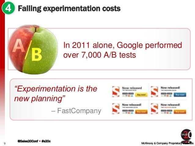@Sales20Conf • #s20c McKinsey & Company Proprietary MaterialsMcKinsey & Company Proprietary Materials Falling experimentat...