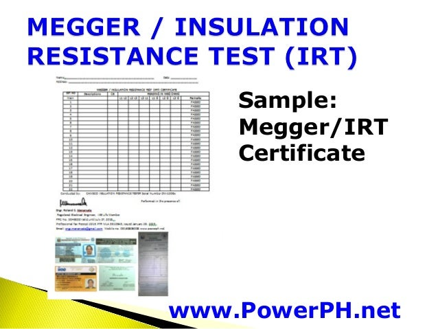 Cable Insulation Resistance Test Form : Megger test report related keywords