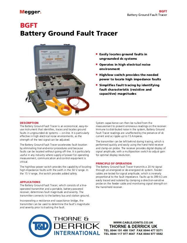 Megger BGFT Battery Ground Fault Tracer