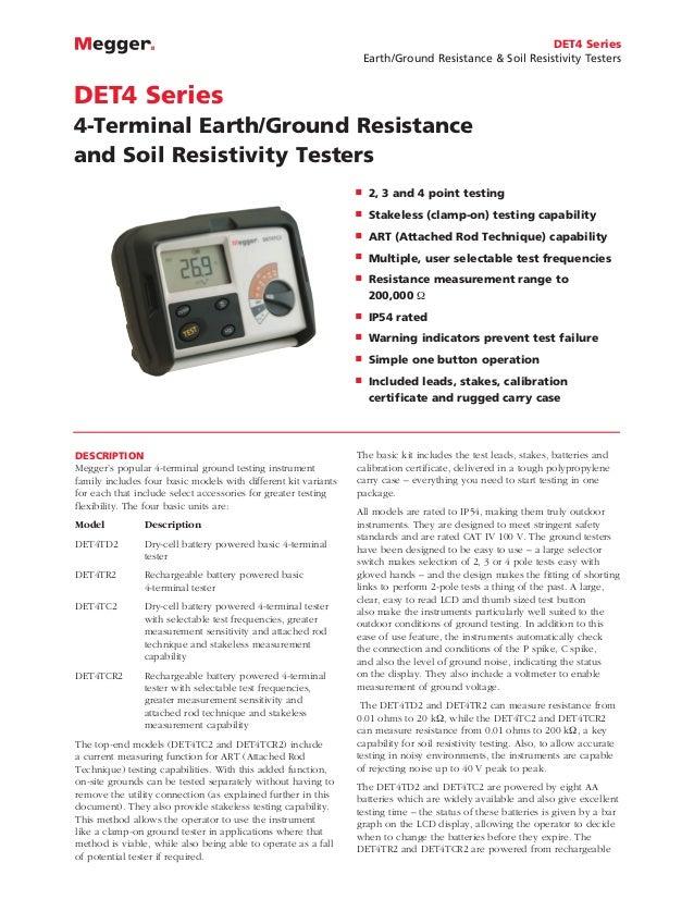Megger DET4T2 Series 4-Terminal Earth/Ground Resistance