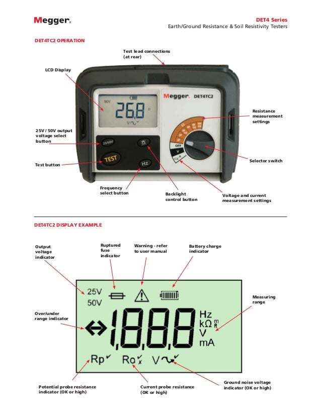 Megger DET4T2 Series 4-Terminal Earth/Ground Resistance Testers & Soi…