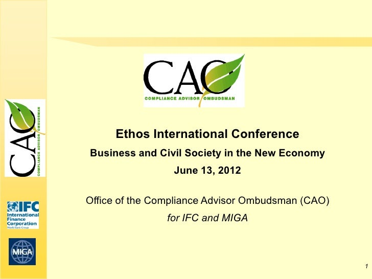 Ethos International ConferenceBusiness and Civil Society in the New Economy                 June 13, 2012Office of the Com...