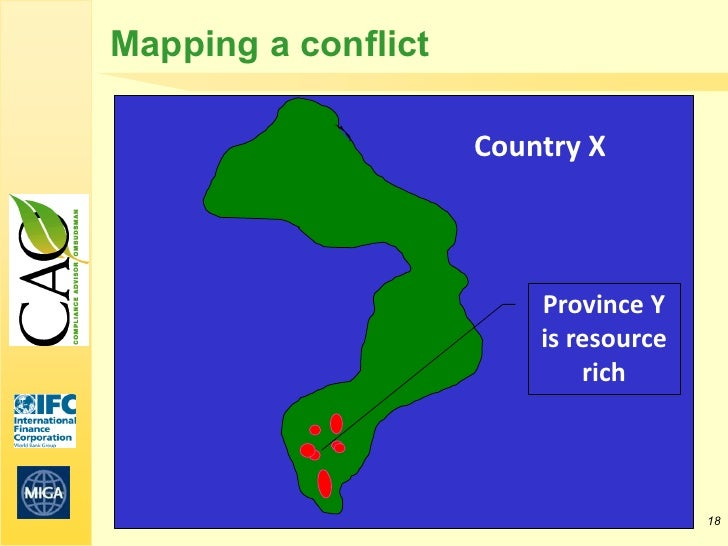 Mapping a conflict                     Country X                         Province Y                         is resource   ...