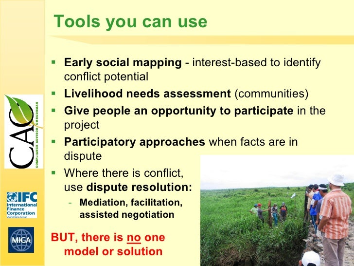Tools you can use Early social mapping - interest-based to identify  conflict potential Livelihood needs assessment (com...