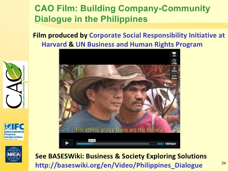 CAO Film: Building Company-CommunityDialogue in the PhilippinesFilm produced by Corporate Social Responsibility Initiative...