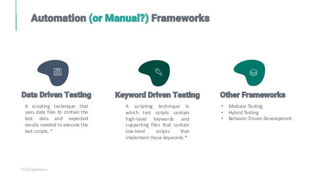Automation (or Manual?) Frameworks A scripting technique that uses data files to contain the test data and expected result...