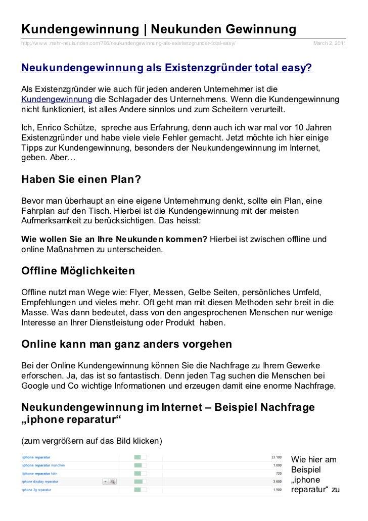 Kundengewinnung | Neukunden Gewinnunghttp://w w w .mehr-neukunden.com/706/neukundengew innung-als-existenzgrunder-total-ea...