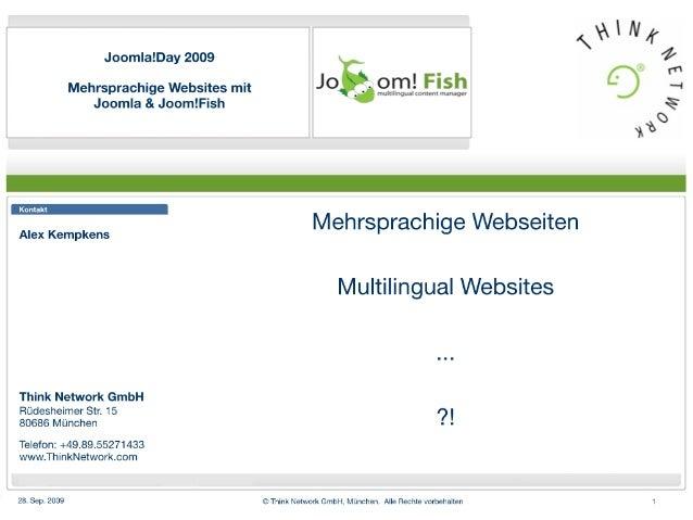 Mehrsprachige Websites mit Joomfish und Joomla, Präsentation auf dem Joomla!Day 2009 Deutschland