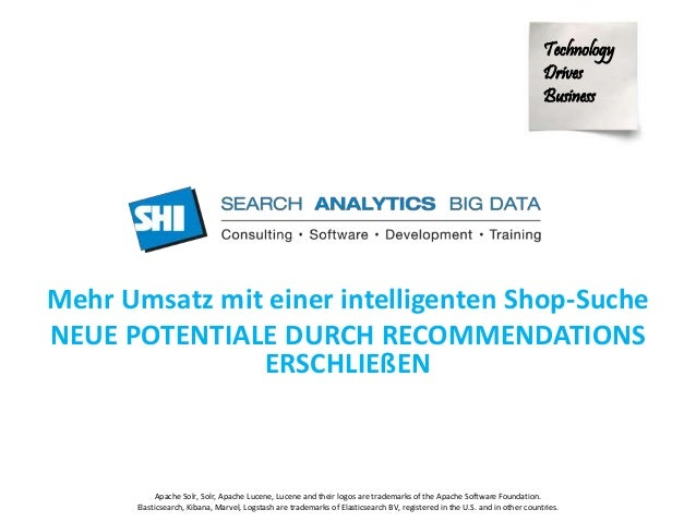 Technology  Drives  Business  Mehr Umsatz mit einer intelligenten Shop-Suche  NEUE POTENTIALE DURCH RECOMMENDATIONS  ERSCH...
