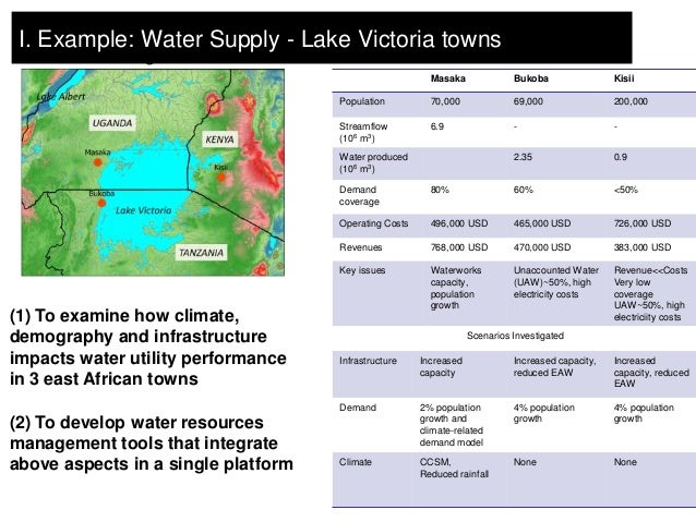 I. Example: Water Supply - Lake Victoria towns Lake Victoria region                                                       ...