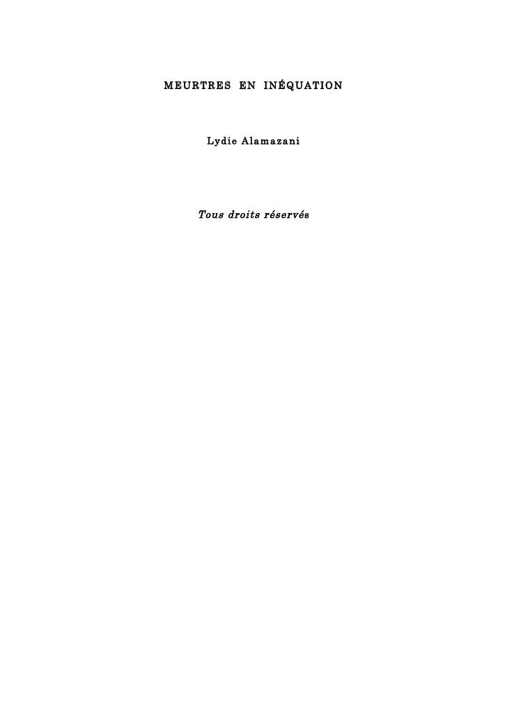 Meurtres en inéquation par : Lydie ALAMAZANI  Slide 2