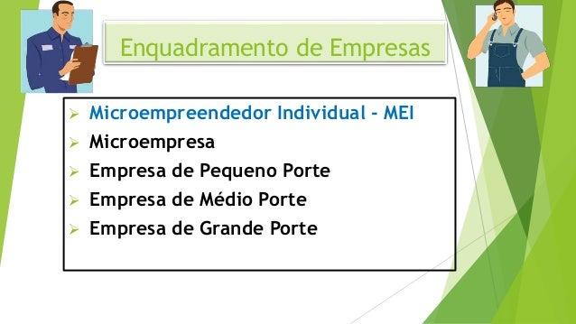 Enquadramento de Empresas  Microempreendedor Individual - MEI  Microempresa  Empresa de Pequeno Porte  Empresa de Médi...