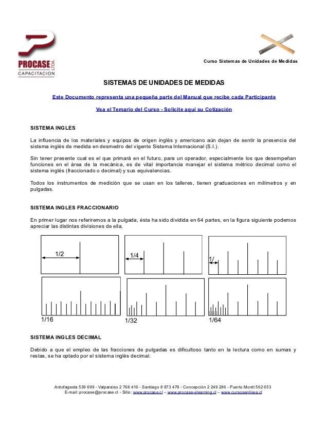 Curso Sistemas de Unidades de Medidas                                  SISTEMAS DE UNIDADES DE MEDIDAS         Este Docume...