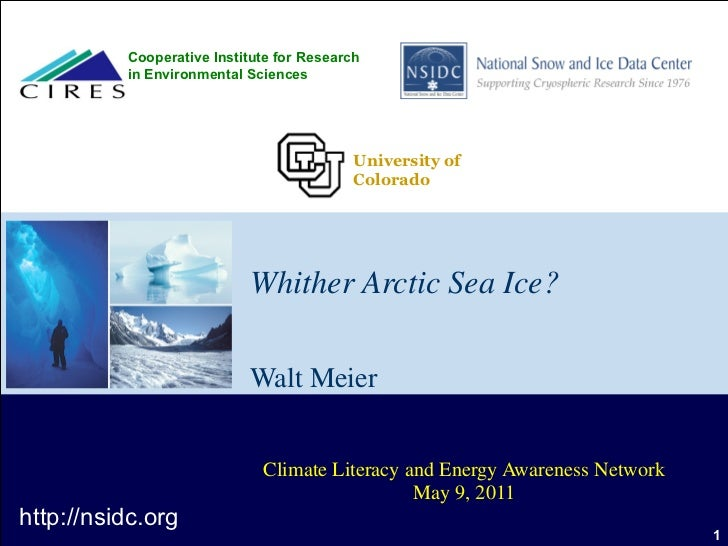 Whither Arctic Sea Ice? Walt Meier Climate Literacy and Energy Awareness Network May 9, 2011 http://nsidc.org Cooperative ...