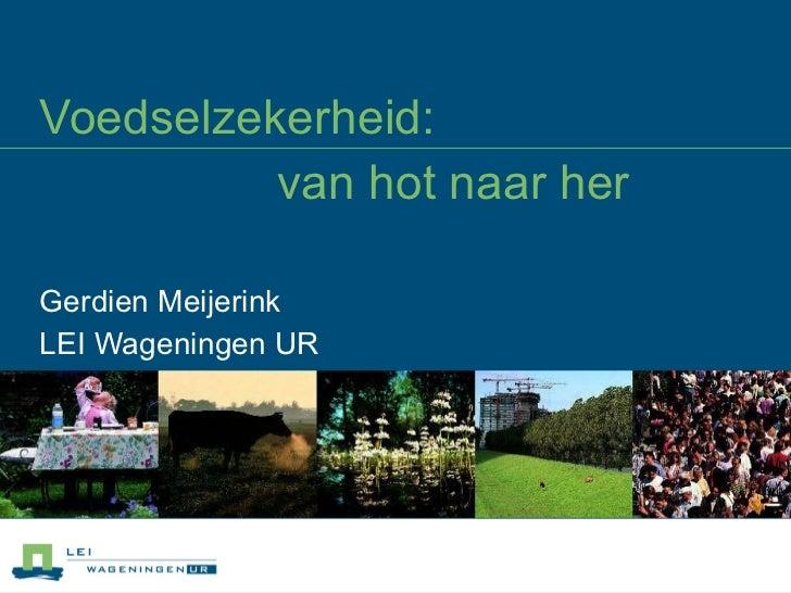 Voedselzekerheid:  van hot naar her Gerdien Meijerink  LEI Wageningen UR