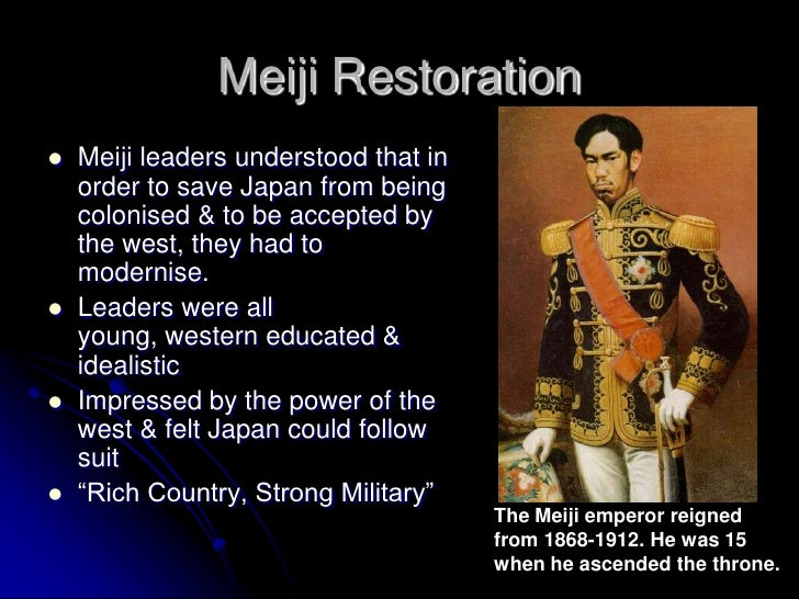 the meiji restoration Meiji restoration, in japanese history, the political revolution in 1868 that  brought about the final demise of the tokugawa shogunate (military.