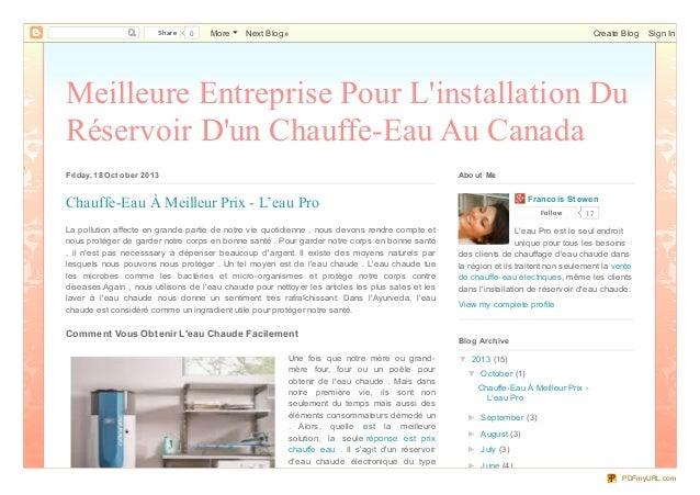 Share  0  More  Next Blog»  Create Blog  Sign In  Meilleure Entreprise Pour L'installation Du Réservoir D'un Chauffe-Eau A...