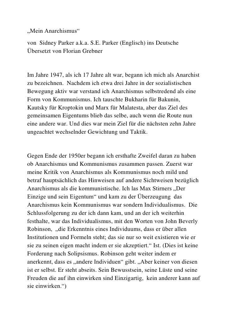 """""""Mein Anarchismus"""" <br />von  Sidney Parker a.k.a. S.E. Parker (Englisch) ins Deutsche Übersetzt von Florian Grebner<br />..."""