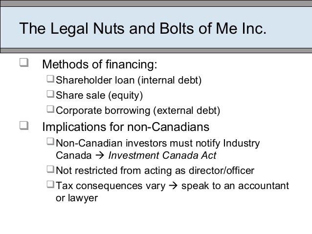 The Legal Nuts and Bolts of Me Inc.  Methods of financing: Shareholder loan (internal debt) Share sale (equity) Corpor...