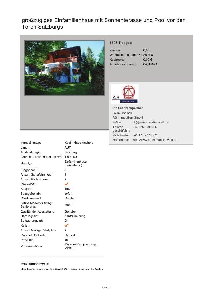 großzügiges Einfamilienhaus mit Sonnenterasse und Pool vor den Toren Salzburgs                                            ...