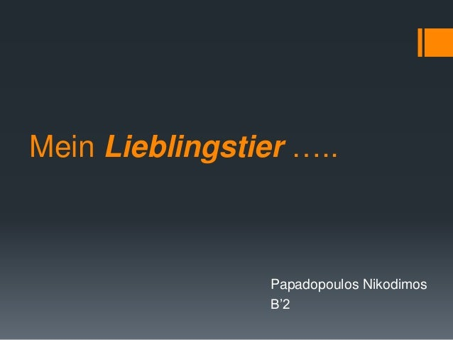 Mein Lieblingstier …..  Papadopoulos Nikodimos  B'2