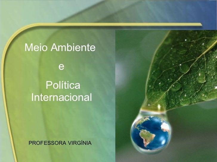Meio Ambiente  e Política Internacional PROFESSORA VIRGÍNIA