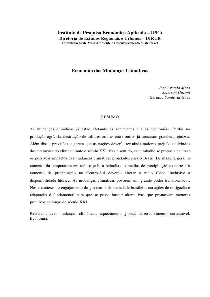 Instituto de Pesquisa Econômica Aplicada – IPEA                  Diretoria de Estudos Regionais e Urbanos – DIRUR         ...