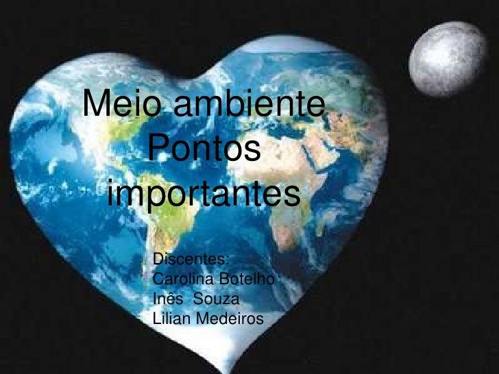 Meio ambiente <br />Pontos importantes<br />Discentes:<br />Carolina Botelho <br />Inês  Souza<br />Lilian Medeiros <br />