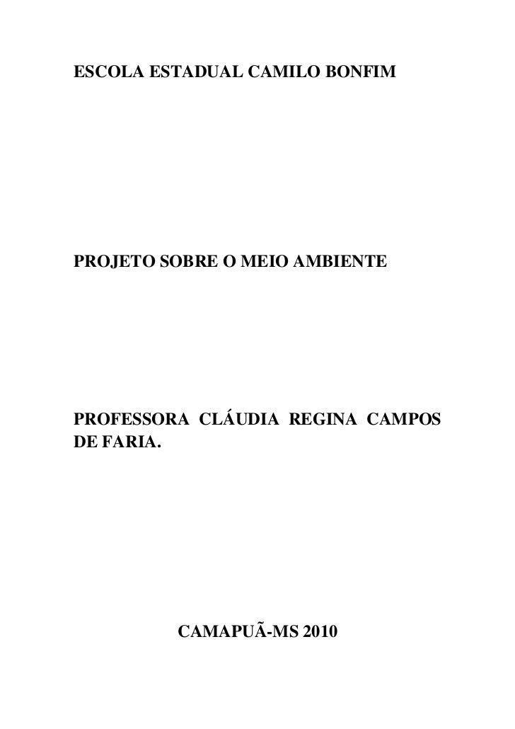ESCOLA ESTADUAL CAMILO BONFIM<br />PROJETO SOBRE O MEIO AMBIENTE<br />PROFESSORA CLÁUDIA REGINA CAMPOS DE FARIA.<br />CAMA...