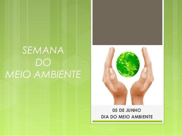 SEMANA DO MEIO AMBIENTE 05 DE JUNHO DIA DO MEIO AMBIENTE