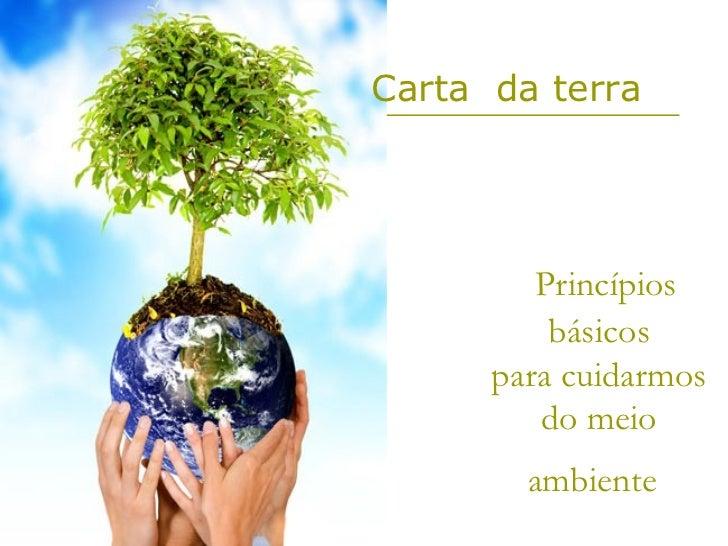 Carta da terra         Princípios          básicos      para cuidarmos         do meio        ambiente