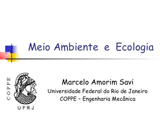 Meio Ambiente e Ecologia        Marcelo Amorim Savi   Universidade Federal do Rio de Janeiro       COPPE – Engenharia Mecâ...