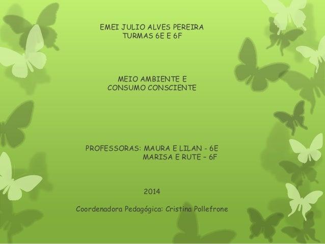 EMEI JULIO ALVES PEREIRA TURMAS 6E E 6F MEIO AMBIENTE E CONSUMO CONSCIENTE PROFESSORAS: MAURA E LILAN - 6E MARISA E RUTE –...