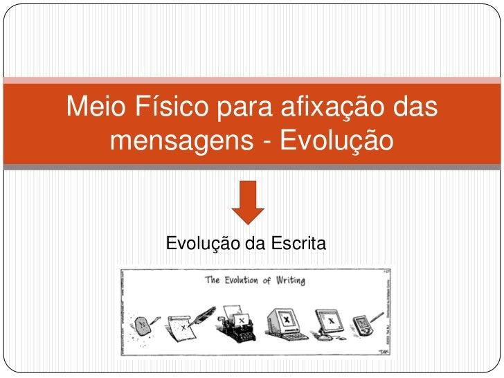 Evolução da Escrita<br />Meio Físico para afixação das mensagens - Evolução<br />